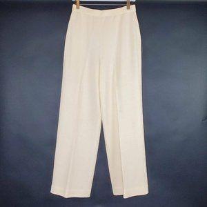 St John Santana Knit Pants Ivory Flat Front Slacks